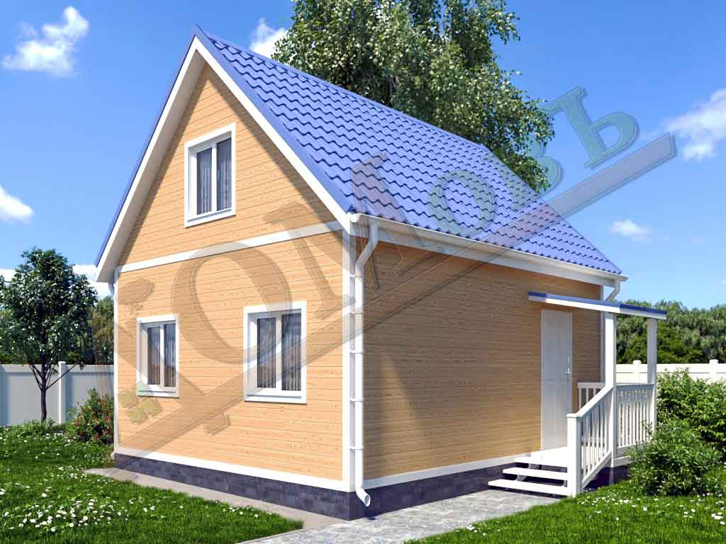 Каркасный дом 5х6 с террасой 1,5х1,5 - ракурс 2