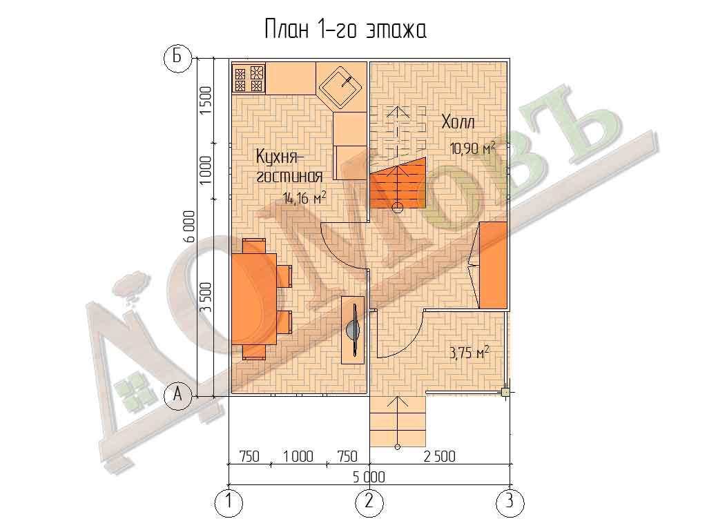 Каркасный дом 5х6 с террасой 1,5х2,5 и балконом 1,5х2 - планировка 1 этажа