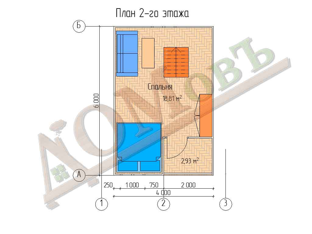 Каркасный дом 5х6 с террасой 1,5х2,5 и балконом 1,5х2 - планировка 2 этажа