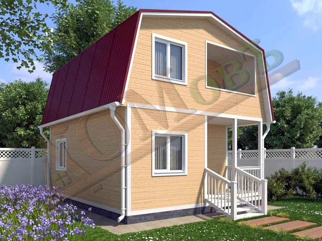 Каркасный дом 5х6 с террасой 1,5х2,5 и балконом 1,5х2 - ракурс 2