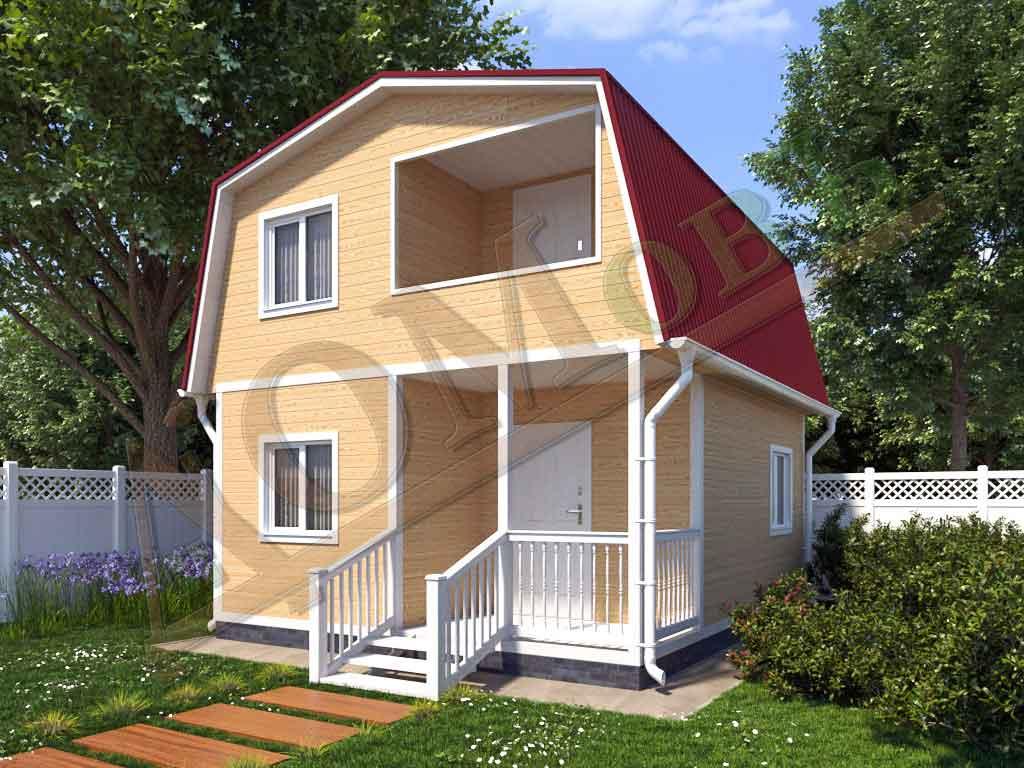 Каркасный дом 5х6 с террасой 1,5х2,5 и балконом 1,5х2