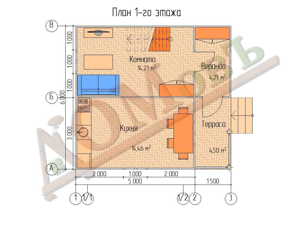 Каркасный дом 5х6 с террасой и верандой 1,5х3 - планировка 1 этажа