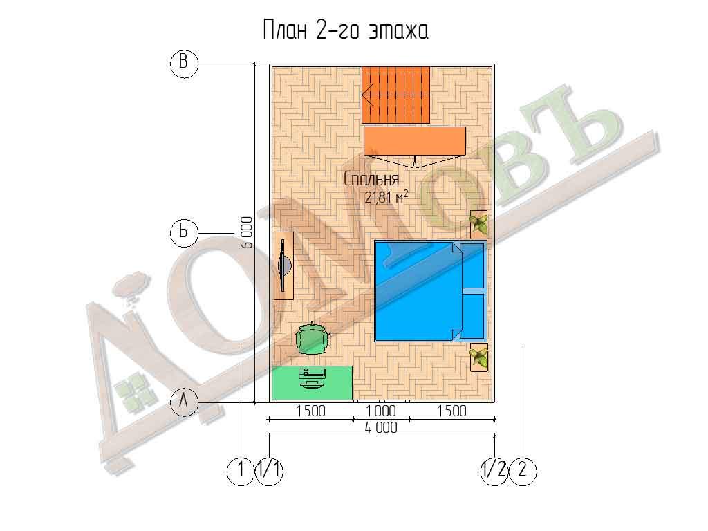 Каркасный дом 5х6 с террасой и верандой 1,5х3 - планировка 2 этажа