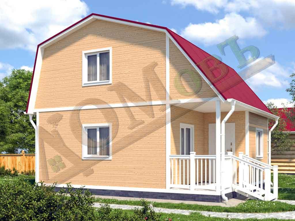 Каркасный дом 5х6 с террасой и верандой 1,5х3