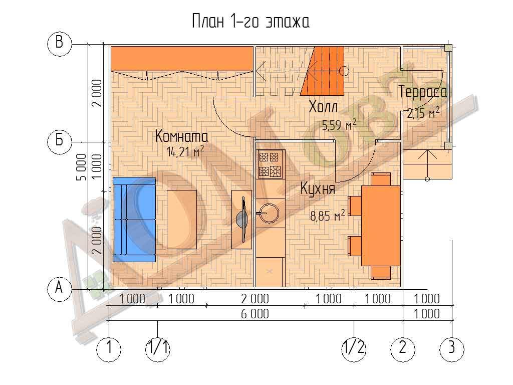 Каркасный дом 6х5 с террасой 1х2 - планировка 1 этажа