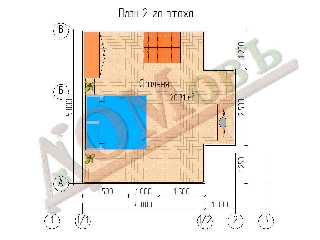 Каркасный дом 6х5 с террасой 1х2 - планировка 2 этажа