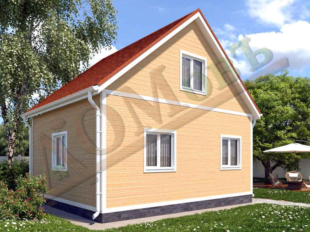 Каркасный дом 6х5 с террасой 1х2 - ракурс 2