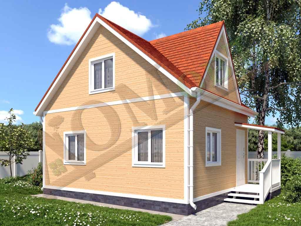Каркасный дом 6х5 с террасой 1х2