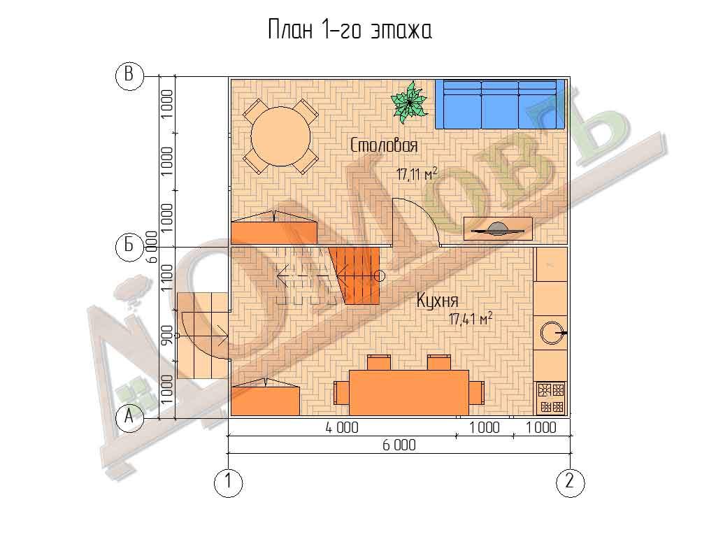 Каркасный дом 6x6 - планировка 1 этажа