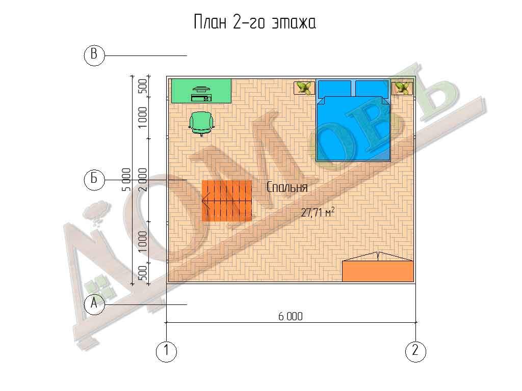 Каркасный дом 6x6 - планировка 2 этажа