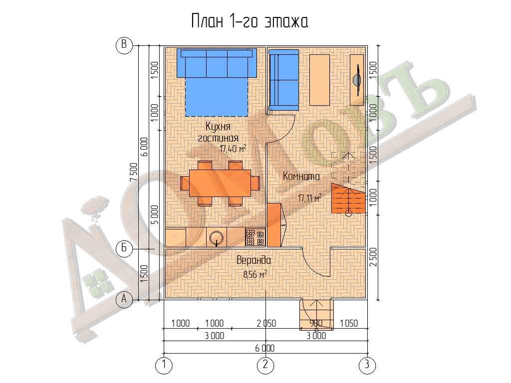 Каркасный дом 6х6 с верандой 1,5х6 - планировка 1 этажа