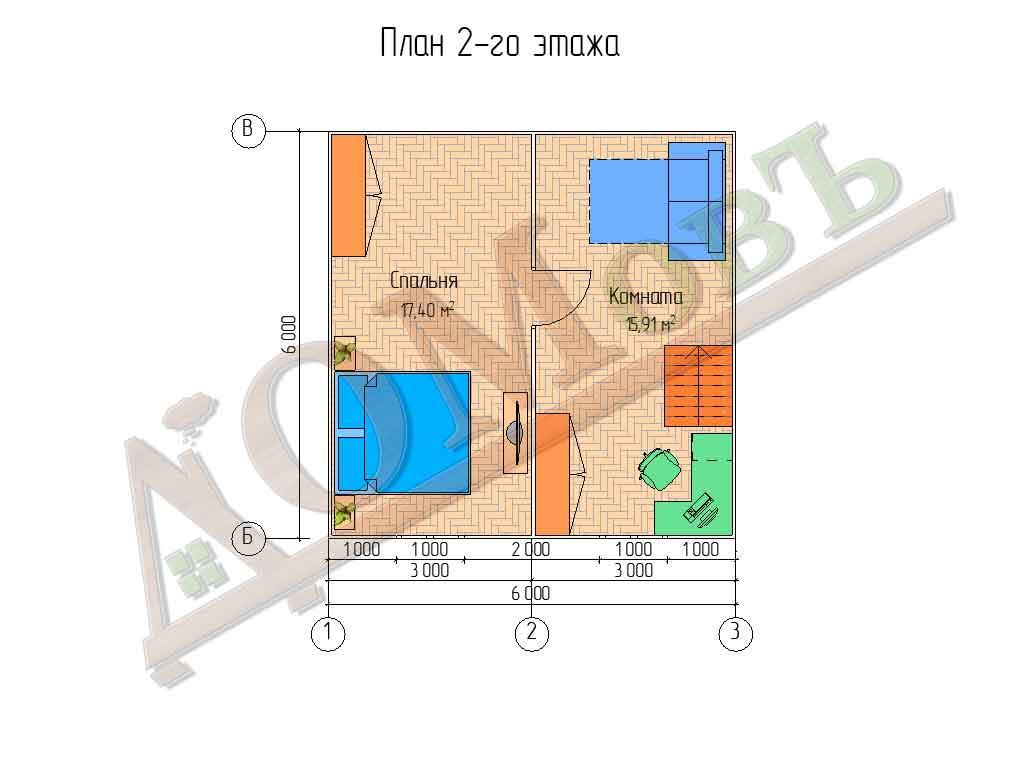 Каркасный дом 6х6 с верандой 1,5х6 - планировка 2 этажа