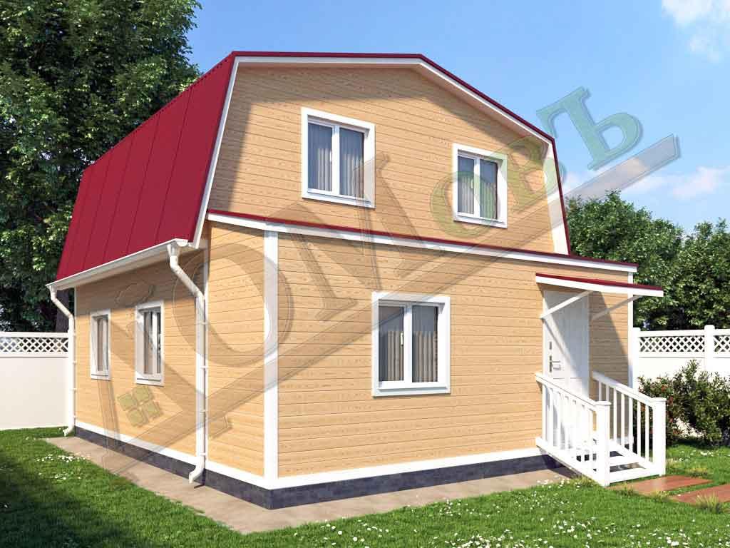 Каркасный дом 6х6 с верандой 1,5х6 - ракурс 2