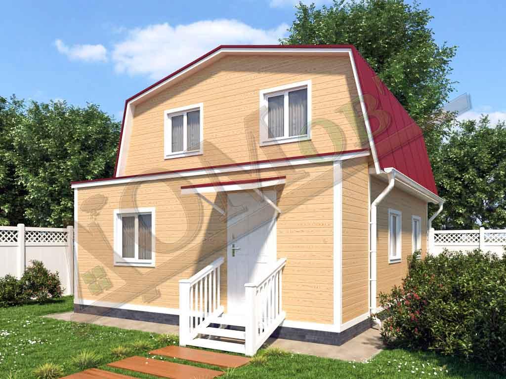 Каркасный дом 6х6 с верандой 1,5х6