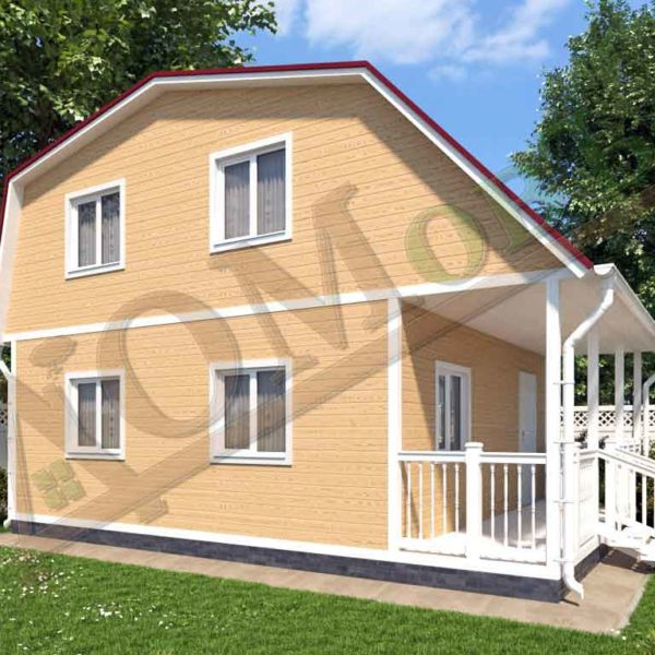 Каркасный дом 6х6 с террасой 1,5х6