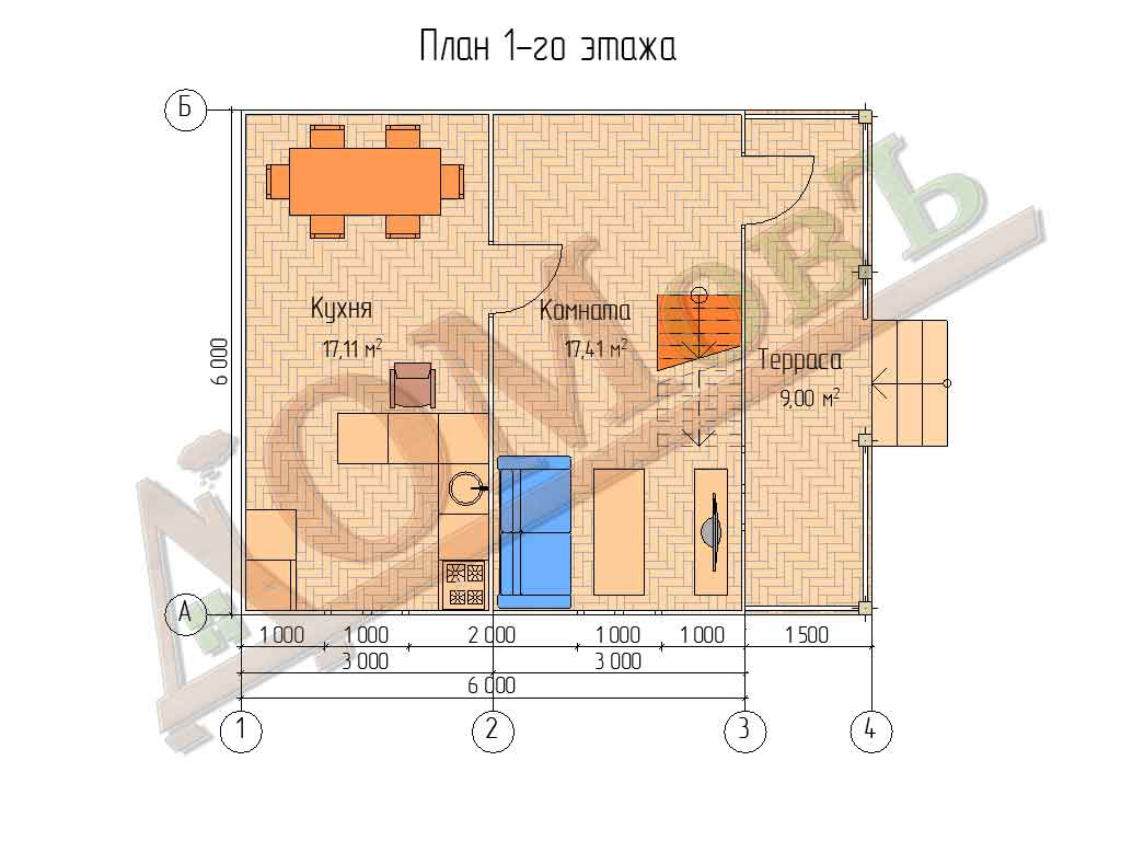 Каркасный дом 6х6 с террасой 1,5х6 - планировка 1 этажа