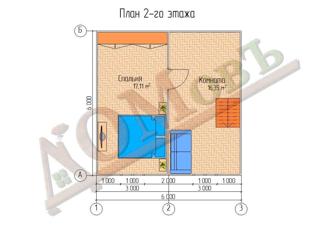 Каркасный дом 6х6 с террасой 1,5х6 - планировка 2 этажа