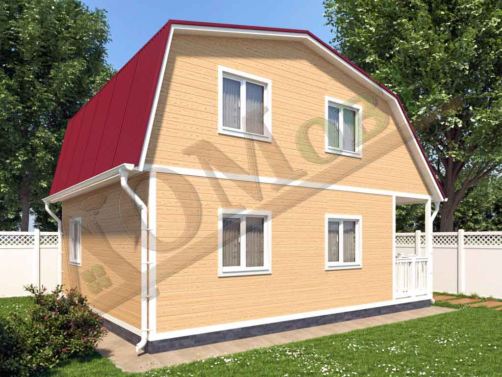 Каркасный дом 6х6 с террасой 1,5х6 - ракурс 2