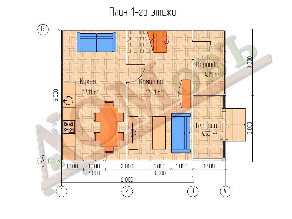 Каркасный дом 6х6 с террасой и верандой 1,5х3 - планировка 1 этажа