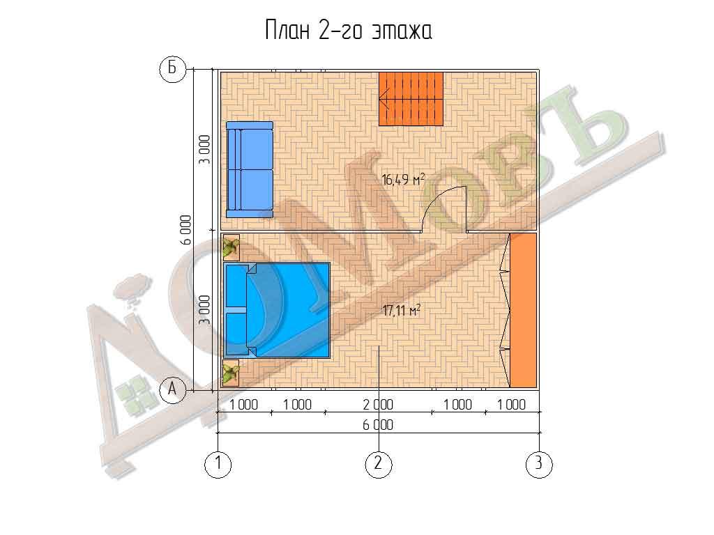 Каркасный дом 6х6 с террасой и верандой 1,5х3 - планировка 2 этажа