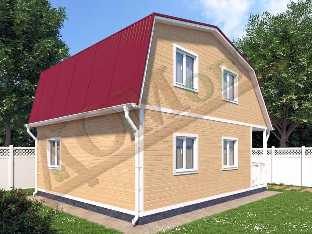 Каркасный дом 6х6 с террасой и верандой 1,5х3 - ракурс 2