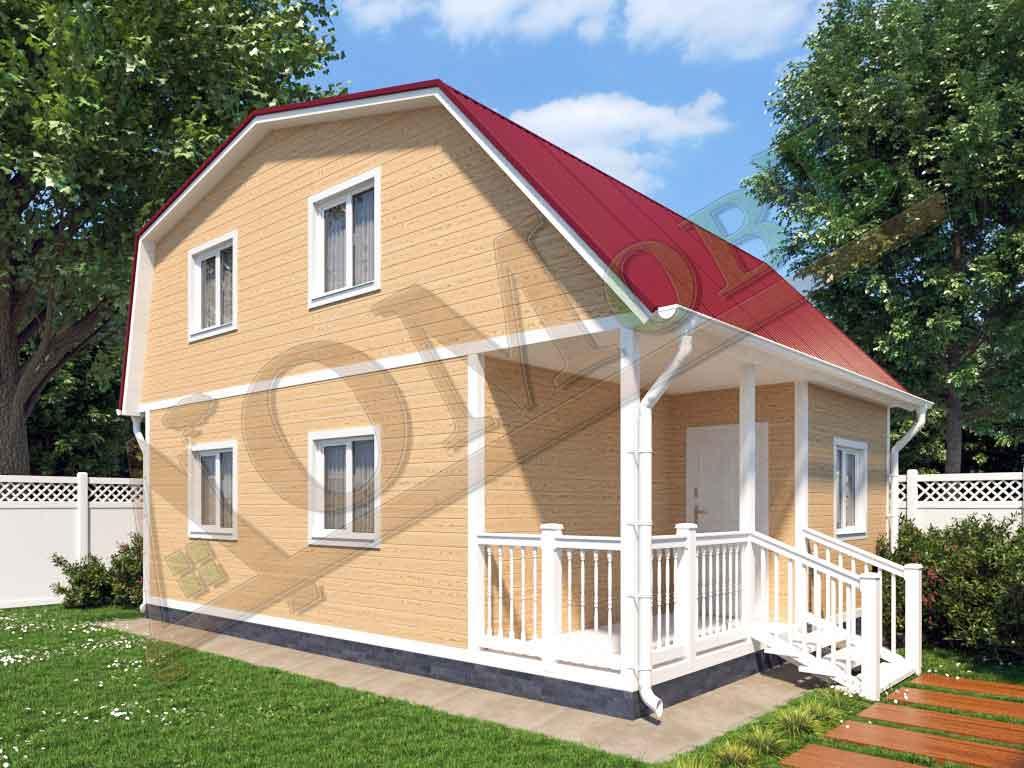 Каркасный дом 6х6 с террасой и верандой 1,5х3