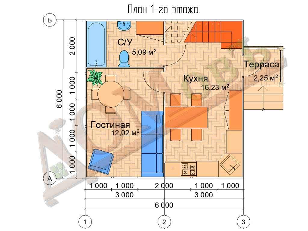 Каркасный дом 6х6 с террасой 1,5х1,5 - планировка 1 этажа