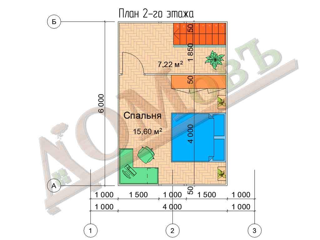 Каркасный дом 6х6 с террасой 1,5х1,5 - планировка 2 этажа