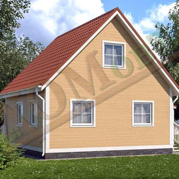 Каркасный дом 6х6 с террасой 1,5х1,5 - ракурс 2