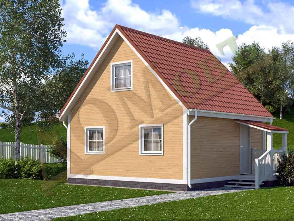 Каркасный дом 6х6 с террасой 1,5х1,5