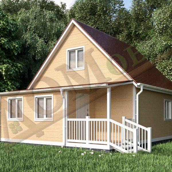 Каркасный дом 6х6 с террасой 2х2 и верандой 2х4