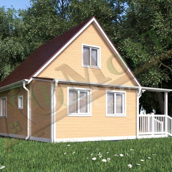 Каркасный дом 6х6 с террасой 2х2 и верандой 2х4 - ракурс 2