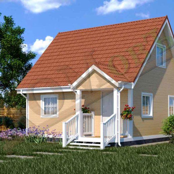 Каркасный дом 6х6 с террасой 1х2