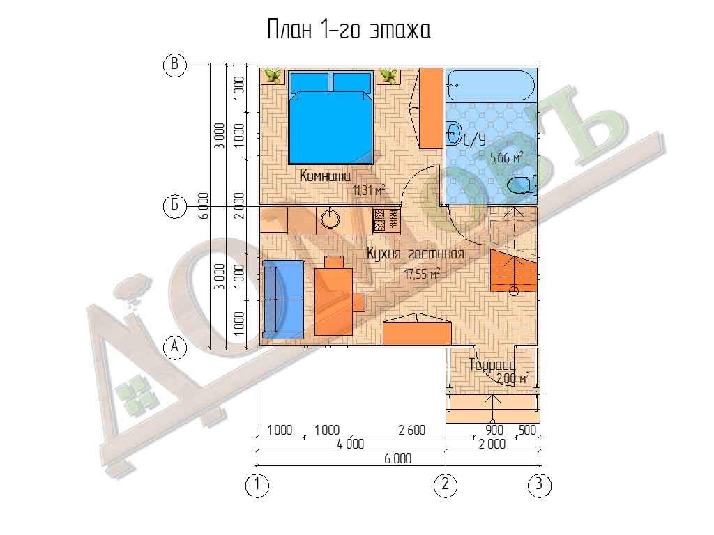 Каркасный дом 6х6 с террасой 1х2 - планировка 1 этажа