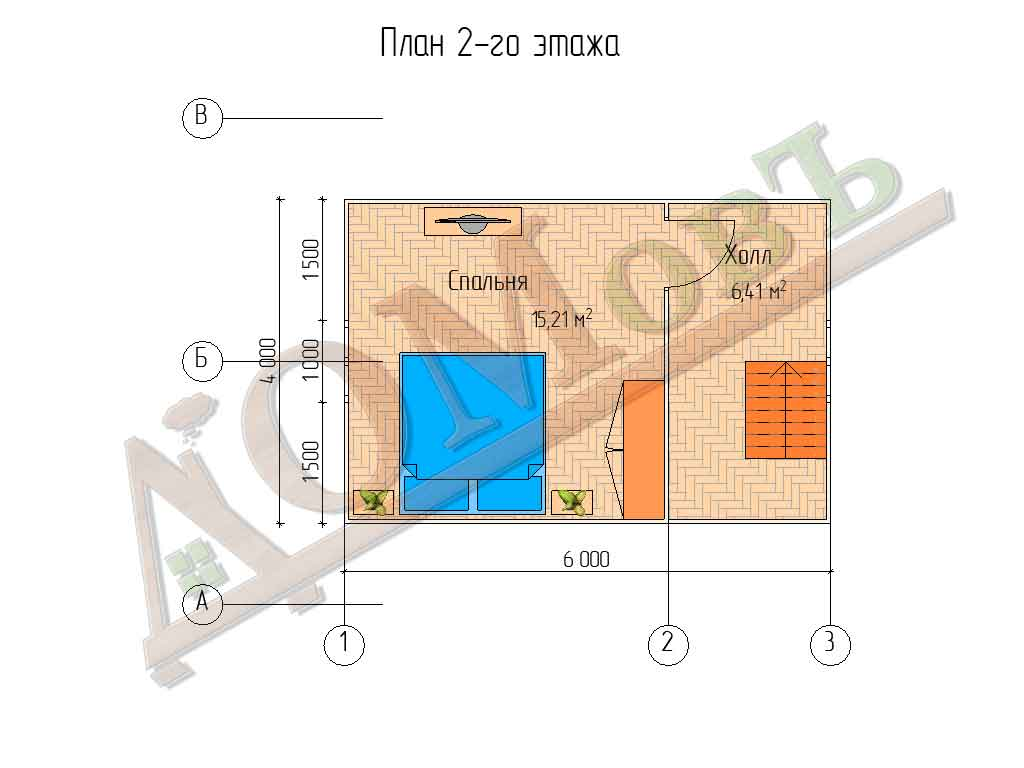 Каркасный дом 6х6 с террасой 1х2 - планировка 2 этажа