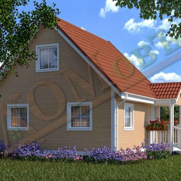 Каркасный дом 6х6 с террасой 1х2 - ракурс 2