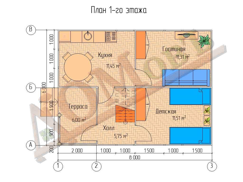 Каркасный дом 6x8 - планировка 1 этажа