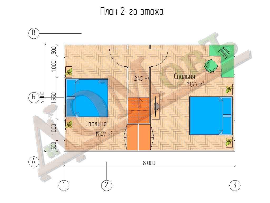 Каркасный дом 6x8 - планировка 2 этажа