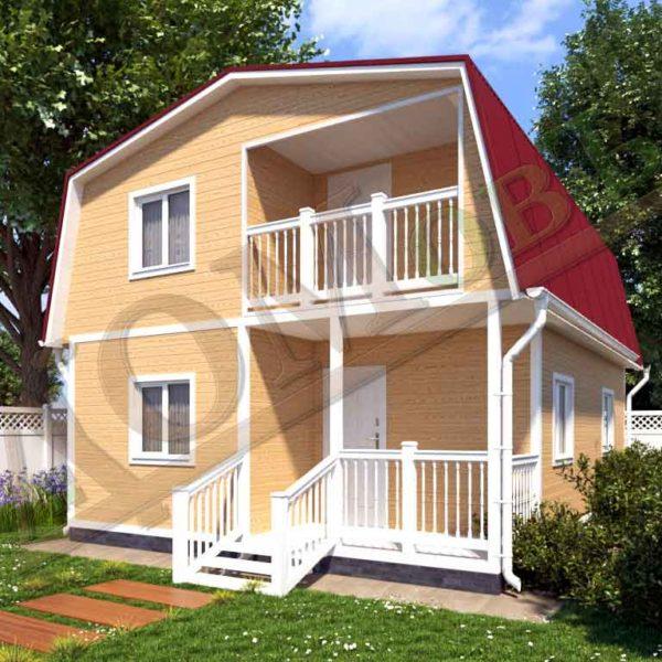 Каркасный дом 6х8 с террасой 2х3 и балконом 2х2,5