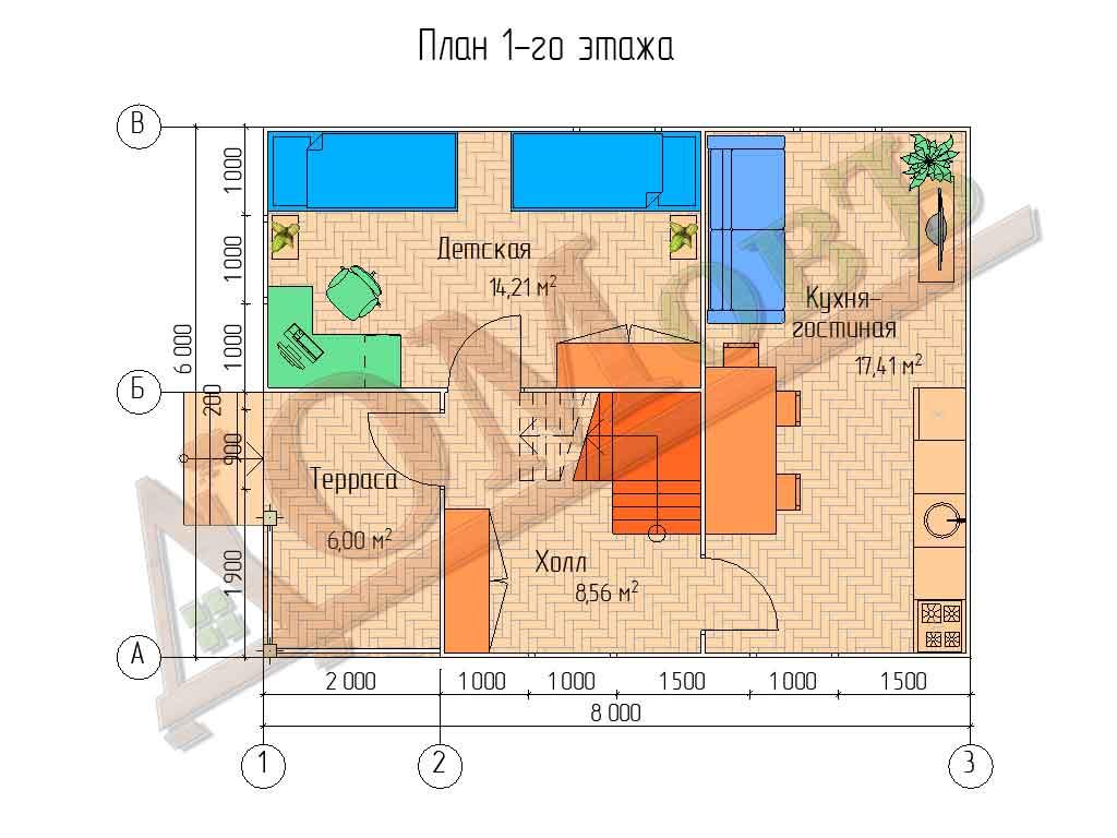 Каркасный дом 6х8 с террасой 2х3 и балконом 2х2,5 - планировка 1 этажа