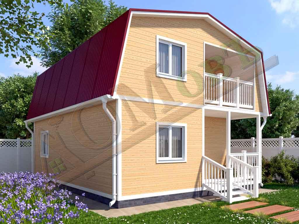 Каркасный дом 6х8 с террасой 2х3 и балконом 2х2,5 - ракурс 2