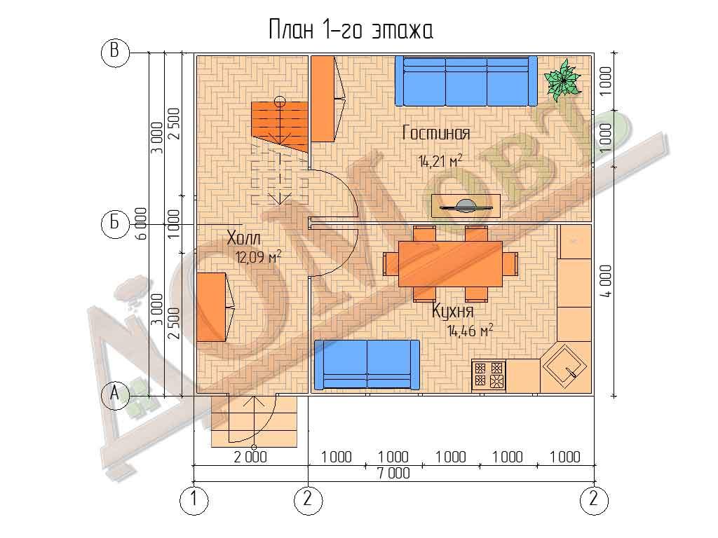 Каркасный дом 7x6 - планировка 1 этажа