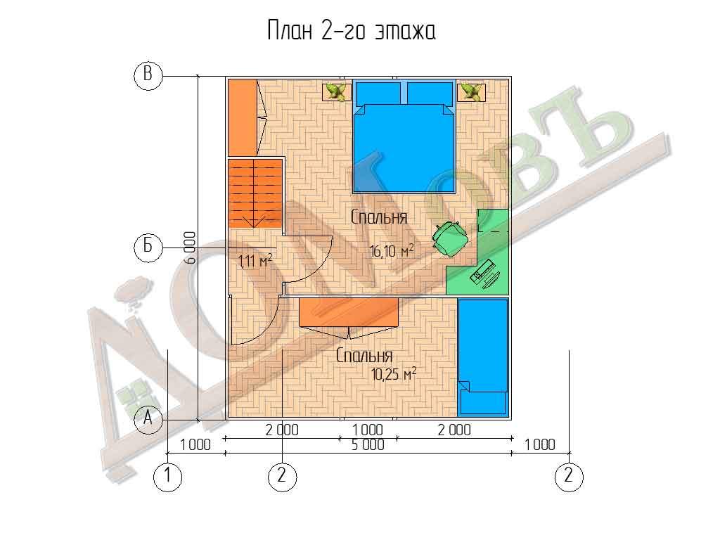 Каркасный дом 7x6 - планировка 2 этажа