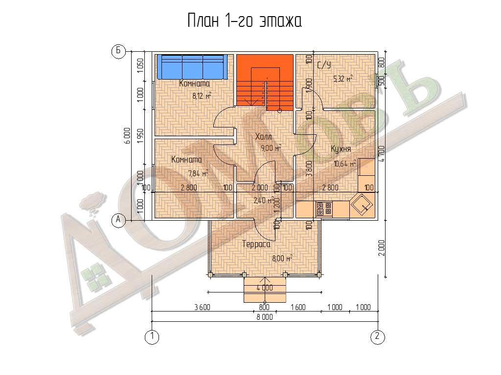 Каркасный дом 8х6 с террасой 2х4 - планировка 1 этажа