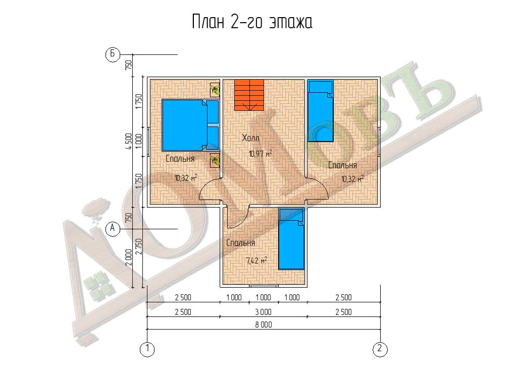Каркасный дом 8х6 с террасой 2х4 - планировка 2 этажа