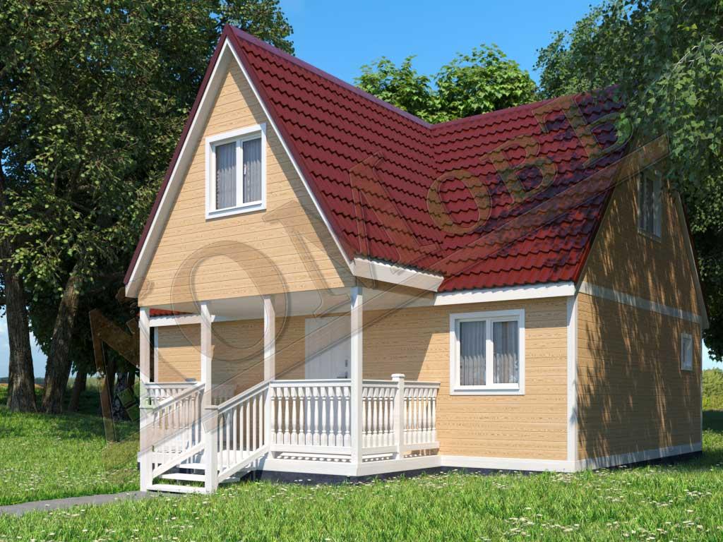 Каркасный дом 8х6 с террасой 2х4 - ракурс 2