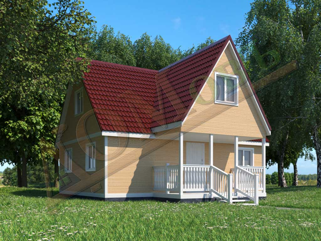 Каркасный дом 8х6 с террасой 2х4