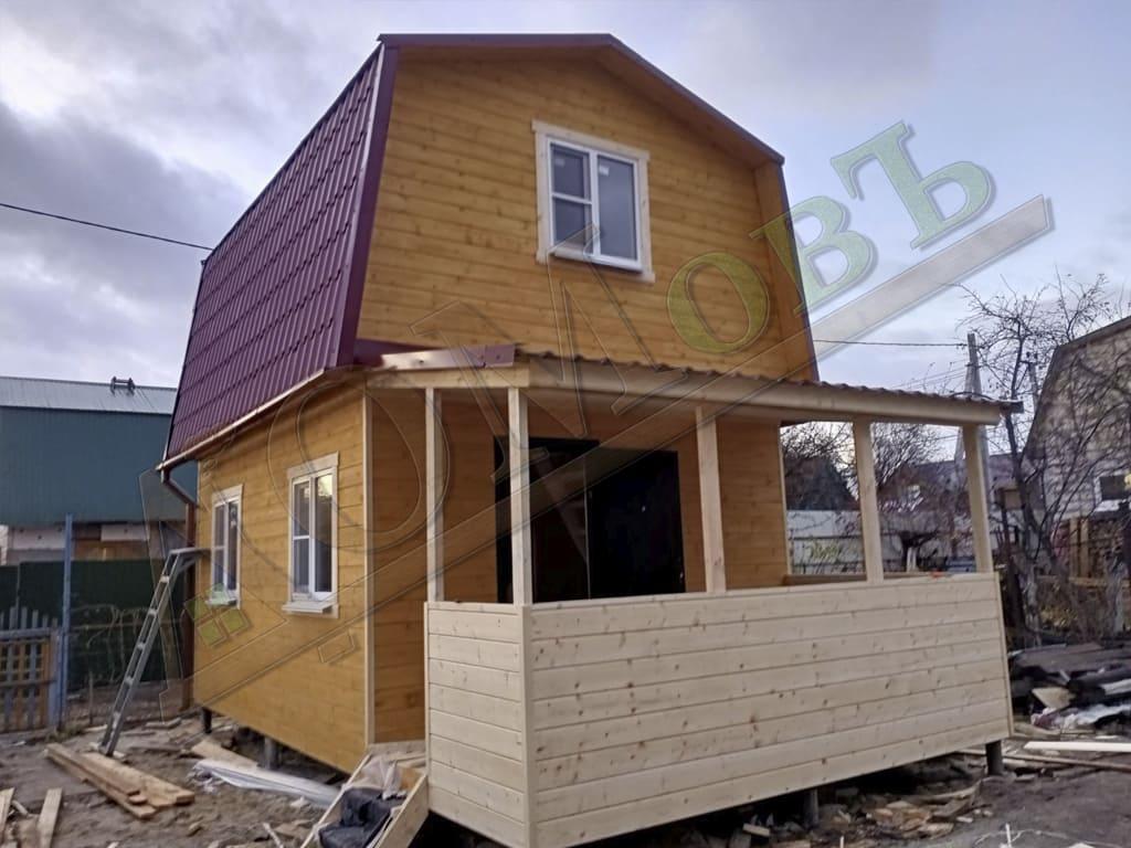 Фото каркасного дома 4х5 с террасой 2х4 - экстерьер 3