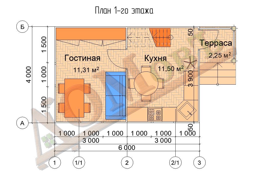 Каркасный дом 6х4 с террасой 1,5х1,5 - планировка 1 этажа