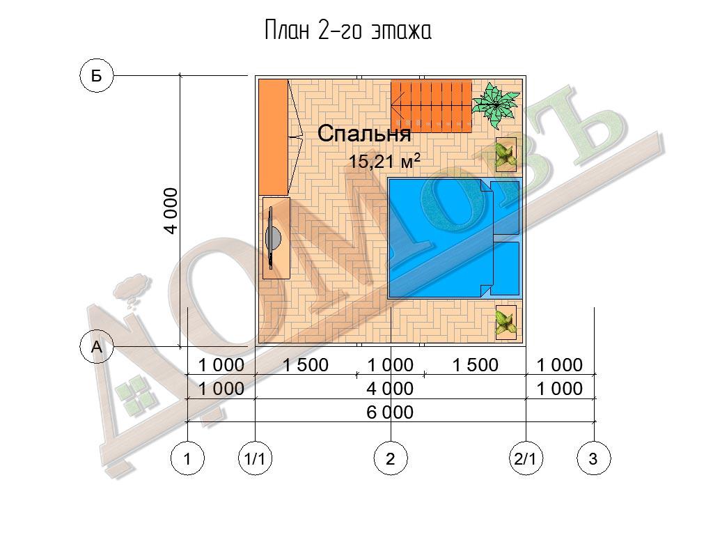 Каркасный дом 6х4 с террасой 1,5х1,5 - планировка 2 этажа